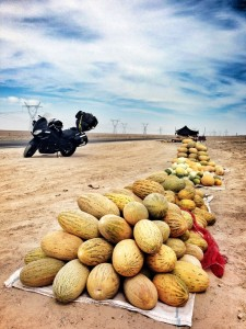 Melons lining the road to Dunhuang