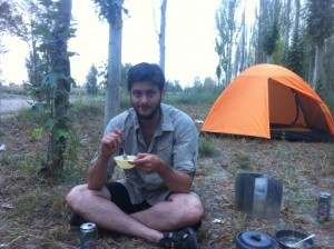 Campsite near the road. Enjoying our instant noodle dinner