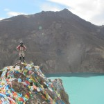 Overlooking the reservoir, cliff side covered in prayer flags (20 yuan if you're interested)