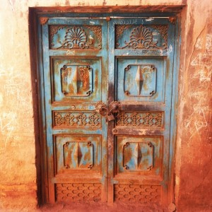 One of the ornately decorated doors in the terraced residences