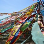 Prayer flags around the lake reminiscent of Tibet