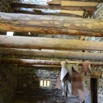 Exploring the inside of one of the unrestored buildings