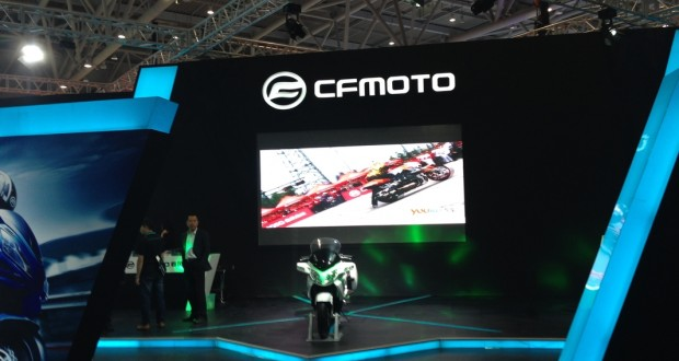 The CFMoto stand all setup for the show. This was the first place we presented at