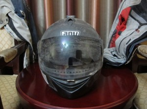 Dust covered helmet after a day on the road
