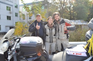 Photo with Jon after crossing the 29,035km mark