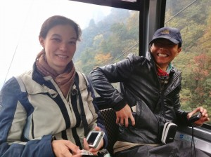 In the cable car up through the Tianzi Mountains