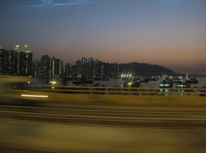 Taking the bus into Hong Kong