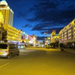 Streets of Manzhouli, a city at the Russian border, lit up at night