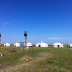 Line up of yurts on the plains of Inner Mongolia